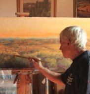 Gordon Frickers painting the Pyrenees