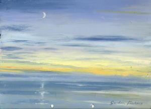 St Austell Bay, Sunset, moon rise, Cornwall
