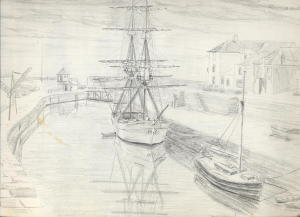 sketch for October Evening, Charlestown, Cornwall