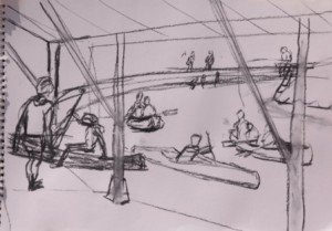 Bommes, sketch of canoeists