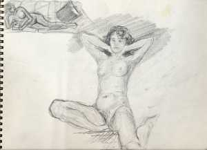 Female nude figure drawn from life