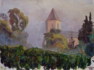 A misty sunrise over vines, St Brice,