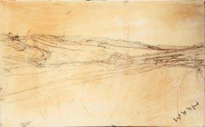 Charcoal, graphite & oil sketch