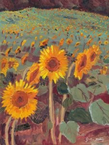 Sunflowers, painted